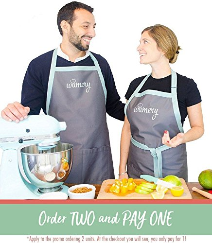 2x1 Bib & Waist Chef APRONS with Pockets. Fits size Small, Medium, Large & XL. Adaptable Neck. Unisex. Neutral color. Stylish look apron. Ideal for Cooking, Bake & Grill. Durable, Resistant.