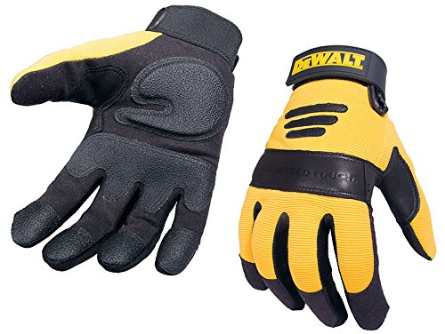 Dewalt DPG21L Heavy Duty Synthetic Padded Leather Palm Spandex Back, Large Dewalt Leather