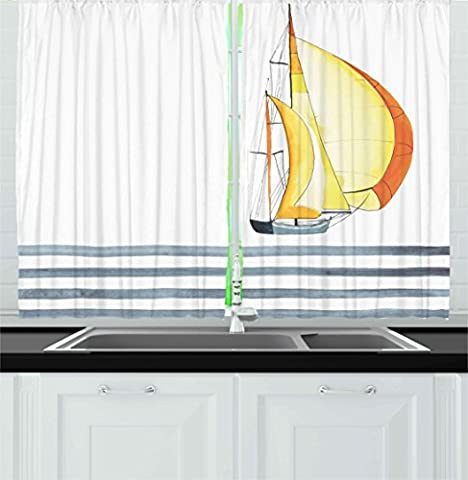Quote Kitchen Curtains by Ambesonne, Sailing Theme Lettering Striped Sea Waves and Boat Sport Yacht Nautical, Window Drapes 2 Panels Set for Kitchen Cafe, 55W X 39L Inches, Slate Blue Orange Yellow