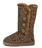 Womens Trish Soft Fur Lined Warm Winter Boot Mid Calf Suede Girls, Leopard, 5