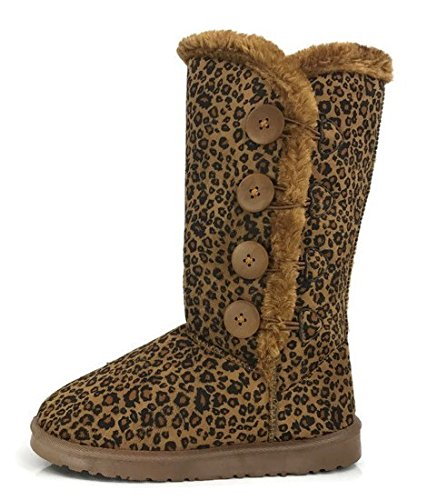 Womens Trish Soft Fur Lined Warm Winter Boot Mid Calf Suede Girls, Leopard, 7 (Leopard Snow Boots)