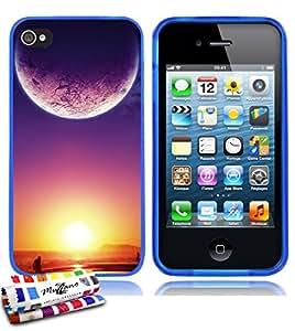 Carcasa Flexible Ultra-Slim APPLE IPHONE 4 de exclusivo motivo [Crepusculo] [Azul] de MUZZANO  + ESTILETE y PAÑO MUZZANO REGALADOS - La Protección Antigolpes ULTIMA, ELEGANTE Y DURADERA para su APPLE IPHONE 4