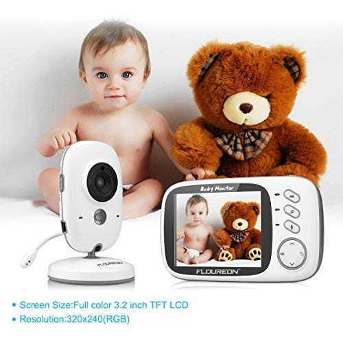 FLOUREON 3.2 Inch Digital Wireless Baby Monitor Infant IR LCD Video Nanny Security Camera Temperature Display 2 Way Talk Night Vision Lullabies(3.2\