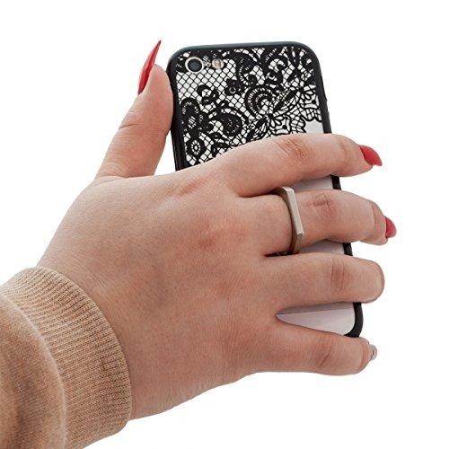 Elegante Henna Style Custodia Back Case nero/trasparente con tasca Selfie anello per Apple iPhone 5/5S cover rigida per cellulare