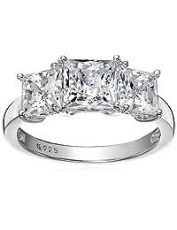 Platinum-Plated Sterling Silver Swarovski Zirconia 4 cttw Princess 3 Stone Ring