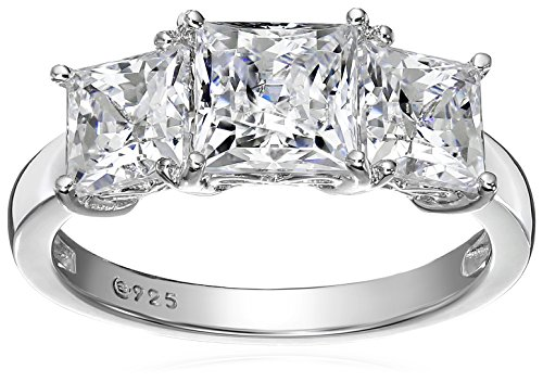 (Platinum-Plated Sterling Silver Princess-Cut 3-Stone Ring made with Swarovski Zirconia (4 cttw), Size 9)