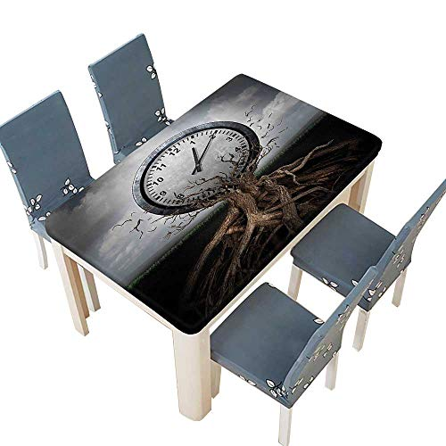 PINAFORE Decorative Tablecloth A Vintage Clock Breaking Free from a Tree Trunk A Surrealistic Symbol for Table Cover for Dining Room and Party W25.5 x L65 INCH (Elastic -