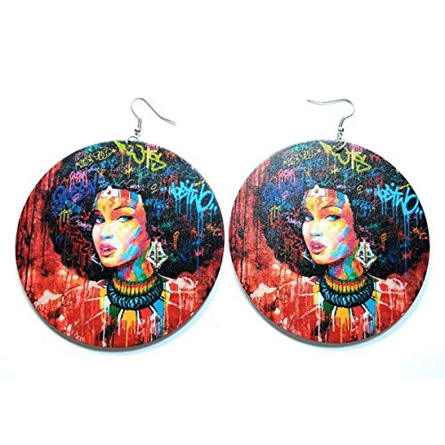 Teri's Boutique Afro Black African American Portrait of Beautiful Ethnic Style Decorative Fashion Dangle Big Earrings (Red) ()
