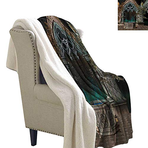 Gothic Blanket Small Quilt 60x47 Inch Mystical Patio with Enchanted Wishing Well Ivy on Antique Gateway to Magical Forest Blanket as Bedspread Grey Teal