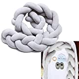 """Baby Crib Bumpers Braids Protective Snake Pillow Home Decoration 39"""" 59"""" 79"""" (200cm, Grey)"""
