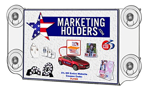 Marketing Holders Window Sign Holder Mounted with Suction Cups. 8.5'' x 5.5'' Double Sided (pack of 1) by Marketing Holders