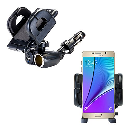 Dual USB / 12V Charger Car Cigarette Lighter Mount and Holder for the Samsung Galaxy Note5 / Note 5