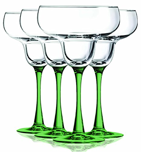 Light Green Margarita Glasses with Beautiful Colored Stem Accent - 14.5 oz. set of 4- Additional Vibrant Colors Available by TableTop King (Green Margarita Set)