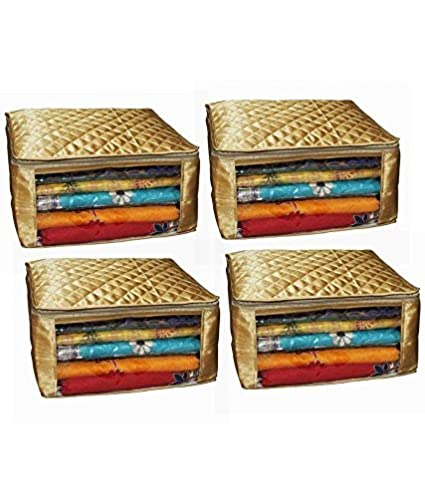 Kuber Industries 4 Piece Satin Saree Cover Set, Golden