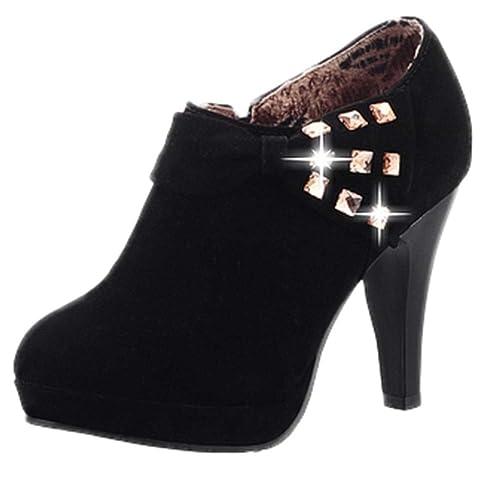 Logobeing Botines Mujer Planos Zapatos Botas de Mujer Boda del Banquete de Dama Plataforma Botines de Tacón Alto Arco Gamuza de Diamantes de Imitación Botas ...