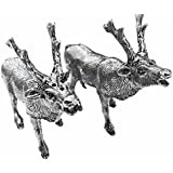 Pewter Stag Deer Salt and Pepper Shaker Set, Cruet Set by Belle Maison