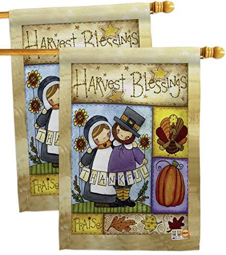 (Breeze Decor HP113057-BOAE Thankful Pilgrims Fall Thanksgiving Impressions Decorative Vertical 28