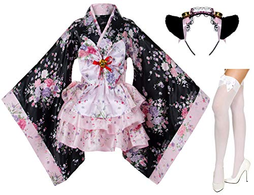 Japanese Anime Lolita Cherry Sakura Flower Printing Kimono Costumes Fancy Dress Maid cat Headband Socks Set(DHF001) Pink 2XL