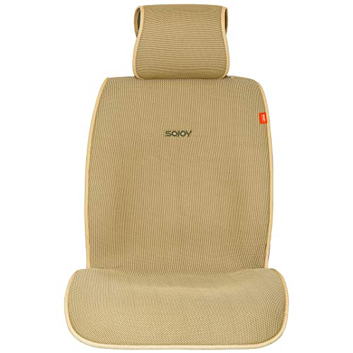 Sojoy IsoTowel Car Seat Cover. Microfiber Seat Protector, with Quick-Dry, No-Slip Technology. Car seat Protection for All Workouts, All-Weather Honeycomb Cloth (Tan and Cream) (Best Low Cost Car Seat)