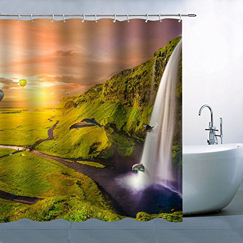 Dolphin Waterfall (BCNEW Personality Natural Scenery Theme Shower Curtain Sunset Orange Sky Golden Sun Green Hill White Waterfall Jumping Dolphins River Waterproof Mildew Resistant Polyester 70 x 70 Inches)