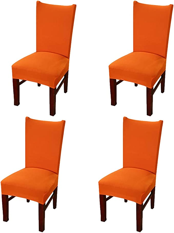 MOCAA Set of 4 Stretch Removable Washable Dining Chair Protector Covers Slipcover M012 (Orange)
