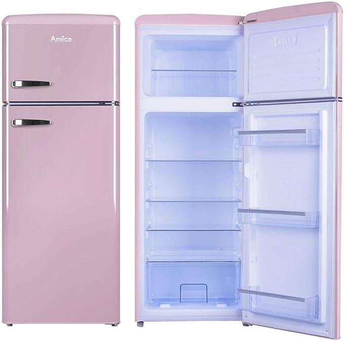 Amica Retro Nevera/Congelador Rosa KGC 15636 P A + + 213 L, con ...