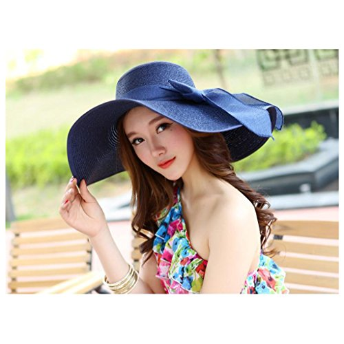 Charming House Women Big Bowknot Wide Foldable Straw Sun Hat Beach Cap by (Blue) (Charming House)