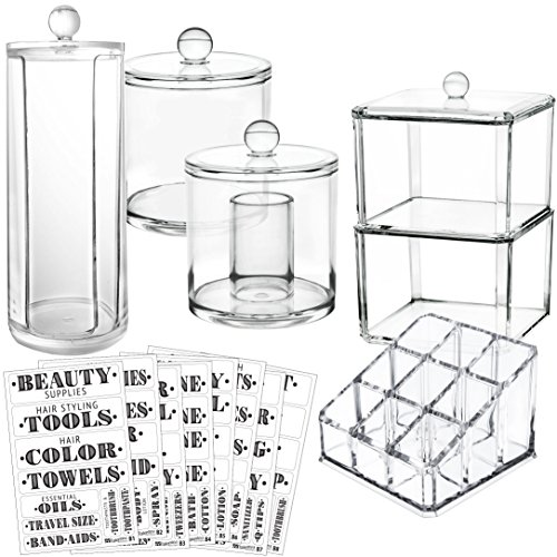 hroom Organizer Container Set. Complete Storage: 5 Canister Jars & 72 Preprinted Labels. Acrylic Makeup Organizers f/Countertop Vanity Cabinet. Make Up Cotton Ball QTip Swab Holder ()