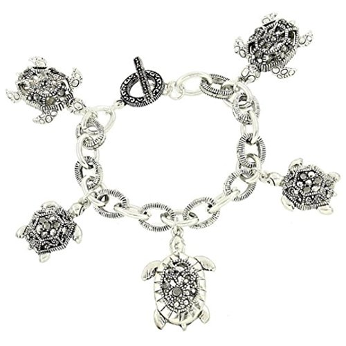 Marcasite Toggle Clasp - Turtle Charm Bracelet C57 Gray Crystal Marcasite Look