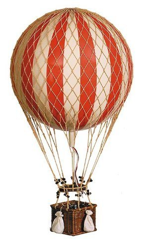 Yellow Jules Verne Balloon - Hot Air Balloon Model - Features Hand-Knotted Netting and Rattan Basket - Authentic Models AP168R by Authentic Models by Authentic Models