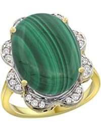 14k Yellow Gold Natural Malachite Ring Oval 18x13mm Diamond Floral Halo, 3/4inch wide, sizes 5 - 10