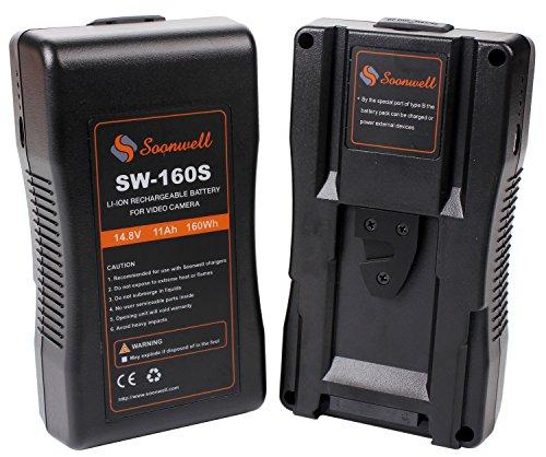 SOONWELL 160Wh 14.8V V Lock Camera Battery Li-ion Rechargeable Spare Battery for DSLR Camera LED Light Monitor by SOONWELL