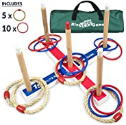 Elite Outdoor Games For Kids - Ring Toss Yard Games for Adults and Family. Easy Backyard Games to Assemble, With Compact Car