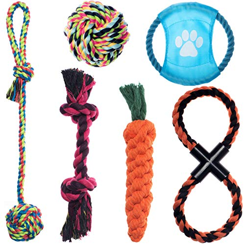 MY LIKE Pet Rope Toys Dog Chew Toys Teething Training Interactive Puppy Sticks Gift Set of 6 for Medium Dog or Small…