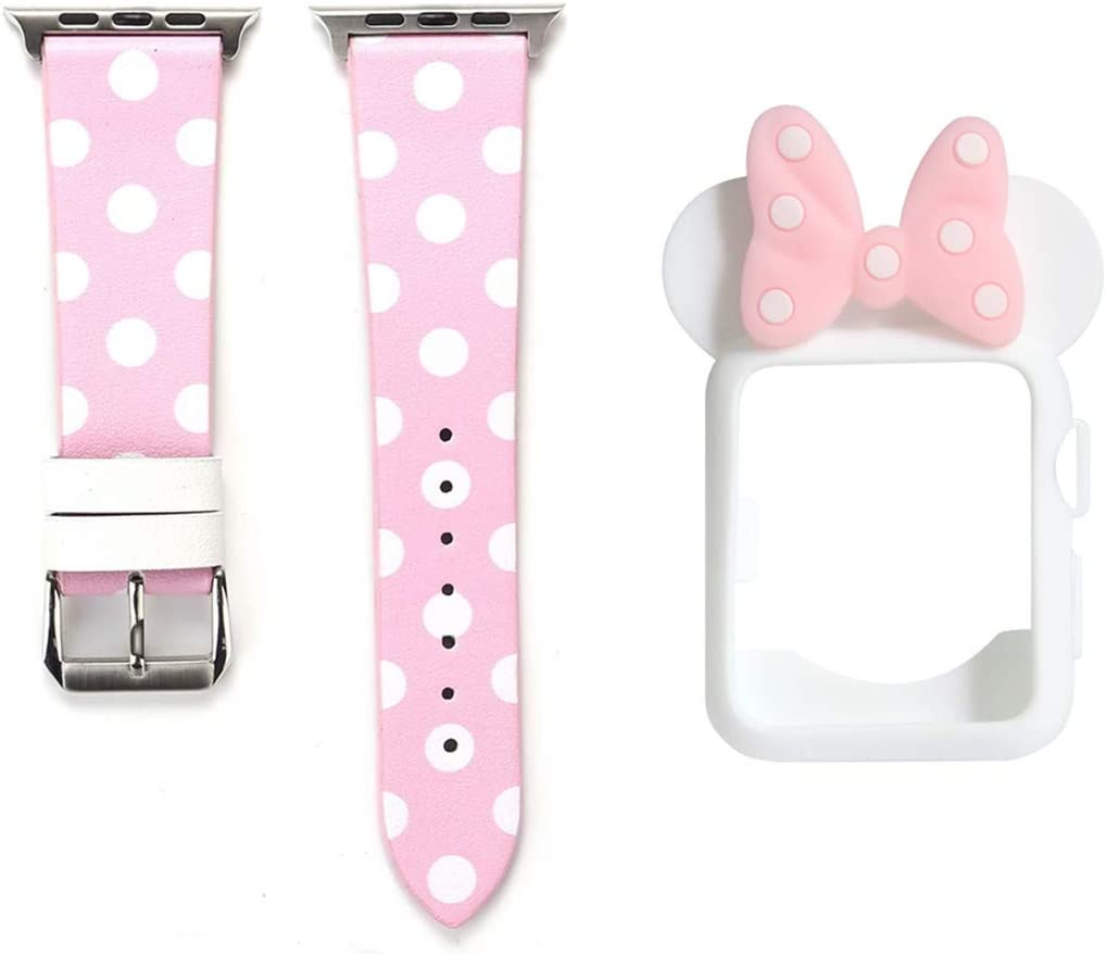 Smarmate Women Girls Band Case Kit, Polka Dots Leather Band and Cute Bowknot Silicone Protective Bumper Case Compatible with 40mm Apple Watch Series 5/4 (Pink & White)