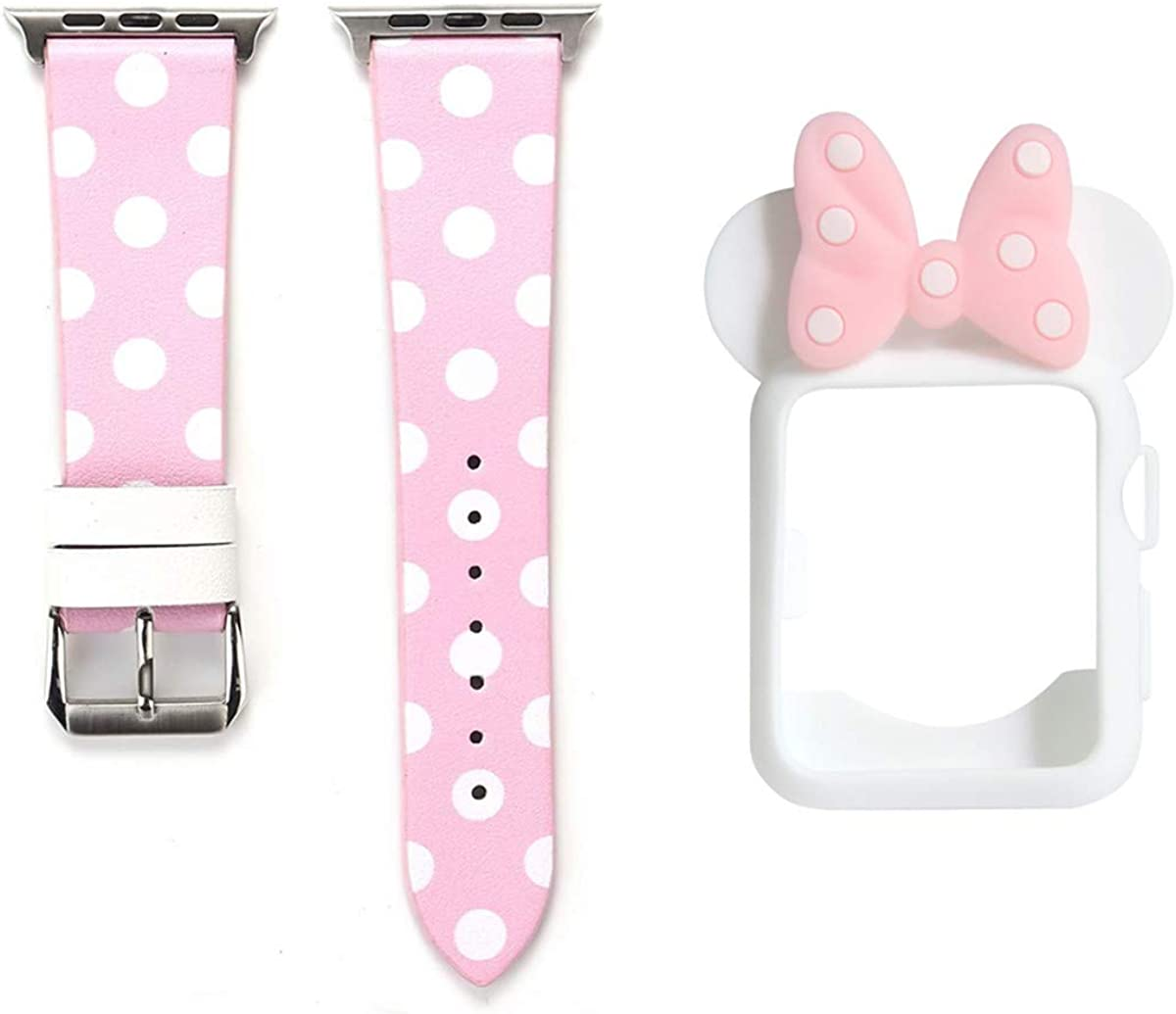 Smarmate Women Girls Band Case Kit, Polka Dots Leather Band and Cute Bowknot Silicone Protective Bumper Case Compatible with 38/40/42/44 mm Apple Watch Series 6/SE/5/4/3/2/1