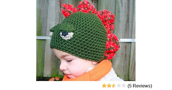Crochet Pattern Crochet boys dinosaur hat includes 4 sizes from ... 3237c46ff01
