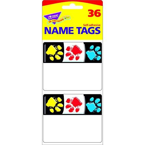 TREND ENTERPRISES INC. PAW PRINTS NAME TAGS (Set of 24)