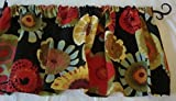 Valance Floral Pattern on Black Background Multi- Color Window Treatment Topper