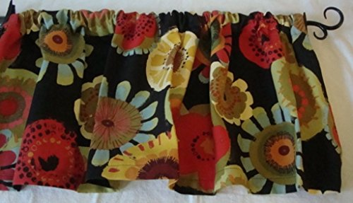 Valance Floral Pattern on Black Background Multi- Color Window Treatment Topper - Cotton Floral Valance