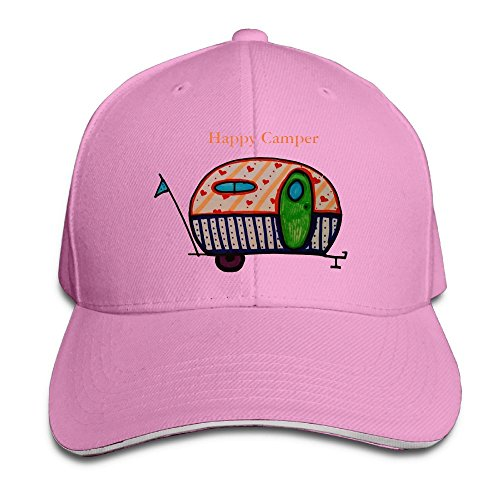 Happy Camper Women Cool Adjustable Peaked Cotton Hats Pink (22 Table Stake)