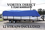 """Tag NEW VORTEX BLUE 24' ULTRA 3 PONTOON/DECK BOAT COVER, HAS ELASTIC AND STRAPS , IDEAL FOR 22'1"""" TO 23' TO 24' FT Big, UP TO 102"""" BEAM (FAST SHIPPING - 1 TO 4 BUSINESS DAY DELIVERY)"""
