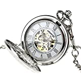 INFANTRY Mens Silver Pocket Watch Wind up Mechanical Pocket Watches for Men with Chain