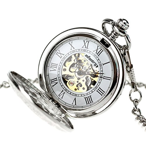 INFANTRY Mens Silver Pocket Watch Wind up Mechanical Pocket Watches for Men with Chain by Infantry