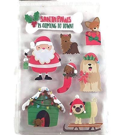 christmas furry bright dogs 3d stickers set - Christmas Furry
