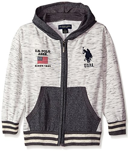 U.S. Polo Assn. Big Boys' Textured French Terry Hooded Jacket, Charcoal, 10/12 (Terry Embroidered Jacket)