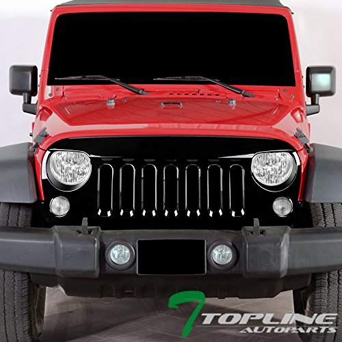 Topline Autopart Glossy Black Angry Bird Vertical Front Hood Bumper Grill Grille ABS For 07-18 Jeep Wrangler JK ()