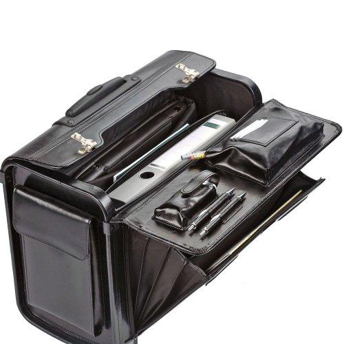 Dermata Pilotenkoffer Trolley Leder 45,5 cm Laptopfach Schwarz