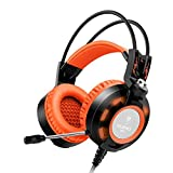 Ailihen K6 USB 2.0 Over Ear Gaming Headsets with Microphone with LED Light, 6.5 Feet - Black / Orange