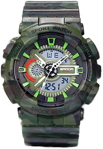 Young Adults Boys Girls Ourdoor Sport Military 50M Waterproof Watches Shock Resist For Hiking Green+Black